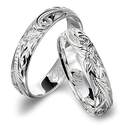 ハワイアンジュエリー ペアリング 刻印無料 シルバー925 指輪 2個セット 【1個目:26号】【2個目:15号】 SR102P