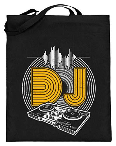 Chorchester Platten Für Jeden DJ und Discjockey - Jutebeutel (mit langen Henkeln) -38cm-42cm-Schwarz