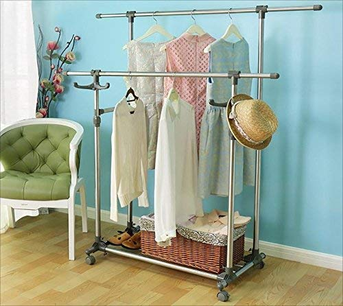 LITING Lagerregale Kleiderstange Garderobenständer Boden Doppelpolige Innen Kleiderbügel Edelstahl Schlafzimmer Einfache Mobile Kleiderbügel