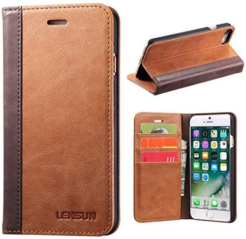Lensun Cover iPhone SE 2020, Cover iPhone 7, Cover iPhone 8, Vera Pelle Cuoio Custodia Genuio Annata a Portafoglio con Coperchio Apribile per iPhone 7 e iPhone 8 4.7' - Marrone (7G-FG-BN)