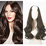 Clip in Hair Extension Brown Curly Curl Wave Full Head Long 24' 0.37lb 170g One Piece U part Synthetic Hairpiece For Women Natural Real Hair Piece Japan High Temperature Fiber(UH17#6 Dark brown)