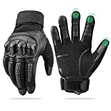 Touch Screen Leather Motorcycle Gloves for Men Women Riding Gloves for Driving Motorbike Off-Road Racing Gloves ATV Black X-Large