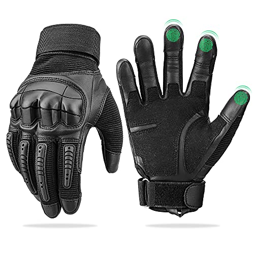 Touch Screen Leather Motorcycle Gloves for Men Women Riding Gloves for...