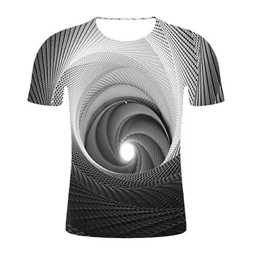 Herren Sommer T-Shirts Kurzarm O Ausschnitt Sport Tees 3D Bedruckt Polyester Baumwolle Workwear Unterhemden Gym Laufbekleidung Bodybuilding Workout Top (EU:42, Schwarz)