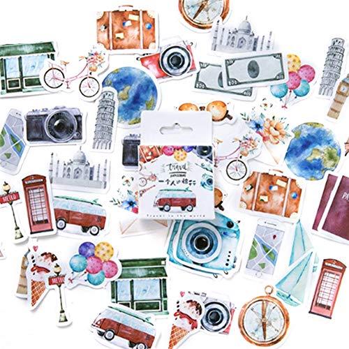 Newhashiqi DIY pegatinas, 45 piezas/caja PDA álbum DIY pegatinas decorativas viaje tema diario scrapbook escuela papelería multicolor