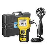 QWERTOUR Mesures anémométriques Vitesse du Vent Vent débit, Vent Temp HVAC Débit d'air Vitesse Compteur avec Batterie