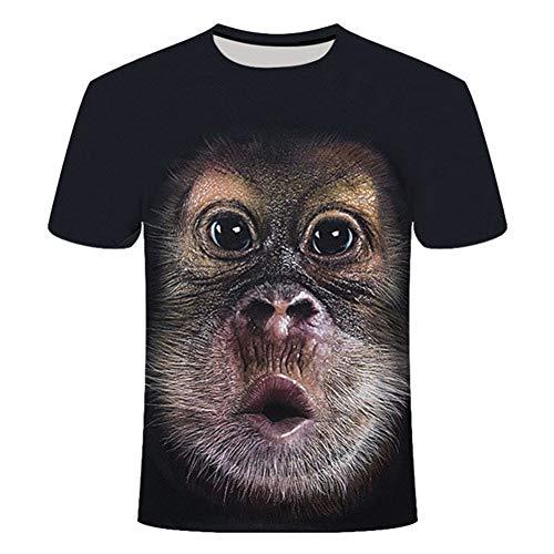 RelaxLife Herren 3D Druck T-Shirt Herren T-Shirt 3D-Gedruckte Neuheit Tier T-Shirt Lustige AFFE Hund Kurzarm Sommer Tops T-Shirt Männlich