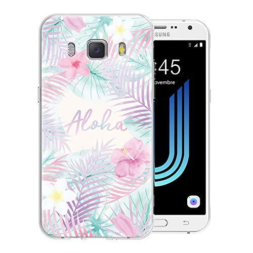 Pnakqil Funda Samsung Galaxy J7 2016, Silicona Transparente con Dibujos Diseño Slim TPU Antigolpes Ultrafina de Protector Piel Case Cover Cárcasa Fundas para Movil Samsung GalaxyJ7, Hoja Aloha