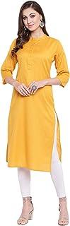 Cenizas Women's Straight Cotton Plain Solid Color Kurti/Kurta