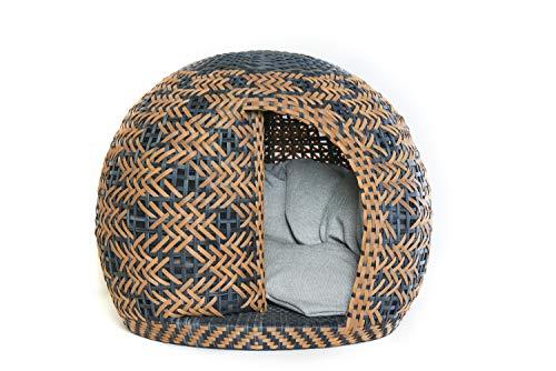 BELLFUGIO kuscheliges Hundebett Katzenbett I ideal für kleine Hunde & Katzen I Schutz aus Polyrattan-Geflecht - strahlungsfrei - Größe S mit Kissen - Handarbeit