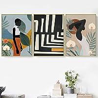 抽象的なアフリカの黒人の女の子の壁の芸術ボヘミアキャンバス絵画北欧のポスターとプリント壁の写真リビングルームの装飾-40x60cmフレームなし