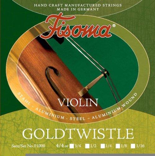 FISOMA Goldtwistle Saiten für Violine 3/4 Satz -- die robuste Schülersaite, stimmstabil mit leichter Ansprache - Made in Germany