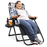 EZCHEER Padded Zero Gravity Chair, 75 inch Extra Long Patio Lounge Recliner Support 400 lbs Heavy Duty Camping Beach Chair with Cup Holder and Support Pillow