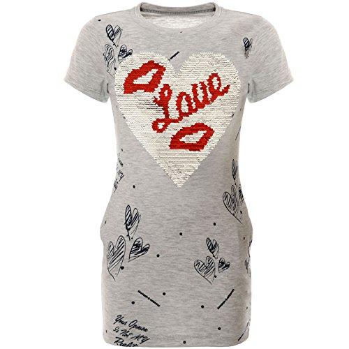 BEZLIT Mädchen Kinder Sommer Tunika Wende-Pailletten Kleid 22159 Grau Größe 140
