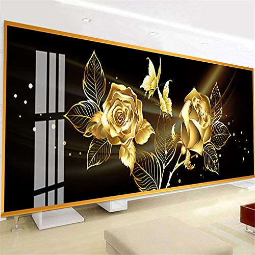 Nicole Knupfer 5D Diamant Malerei Full Kits, DIY 5D Diamant Painting Goldene Rose Crystal Strass Stickerei Cross Stitch (120 * 50cm)