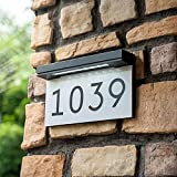 House Numbers Address Plaques For Houses Solar Powered, 6000K Daylight White LED Illuminated Address Sign For Outside, Waterproof, Wireless, Light Up For Houses, Street