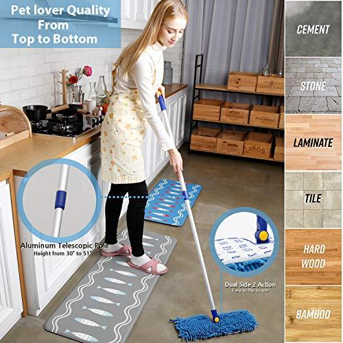 "JINCLEAN 18"" Microfiber Floor Mop | Dual Side Different Action Dust Mop Dry to Attract Dirt, dust, pet Hair Or Hardwood Floor Clean, Telescopic Aluminum Pole Adjust Height max 51"""