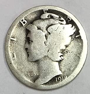1918 S Mercury Dime 90% Silver 10c Average Circulated