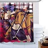 wywyet Sword Art Online Cortina De Ducha De Accesorios De Baño A Prueba De Agua Y Moho Impresa En 3D, Que Incluye 12 Anillos De Cortina De Ducha,180cm×180cm