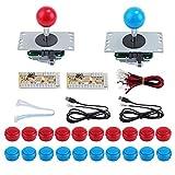 KEESIN 2 Arcade Jugadores Botones y Piezas de Joystick, Kit de Controlador de...