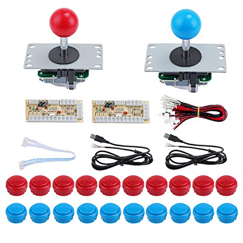 KEESIN 2-Player Arcade Buttons and Joystick,DIY Controller Kit for Windows and Raspberry Pi