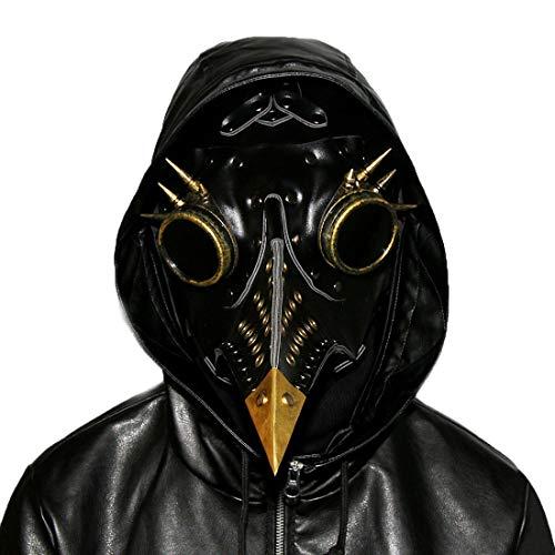 Lindan shangmao Remache de la Vendimia Nariz Larga Máscara de pájaro Pico Medieval Steampunk Fiesta de Halloween Mascarada Disfraz Disfraz 3Colores Disponibles para Adulto