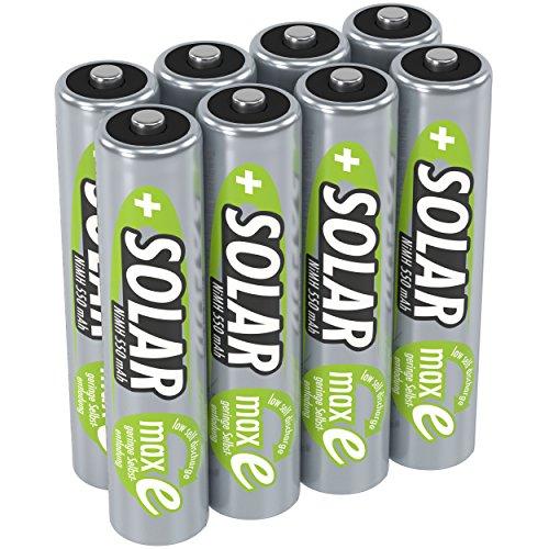 ANSMANN Batterij AAA Micro 550mAh 1,2V NiMH voor zonnelampen 8 stuks - oplaadbare batterijen met lage zelfontlading maxE - Solar batterijen ideaal voor zonnelampen in de tuin - oplaadbare batterij
