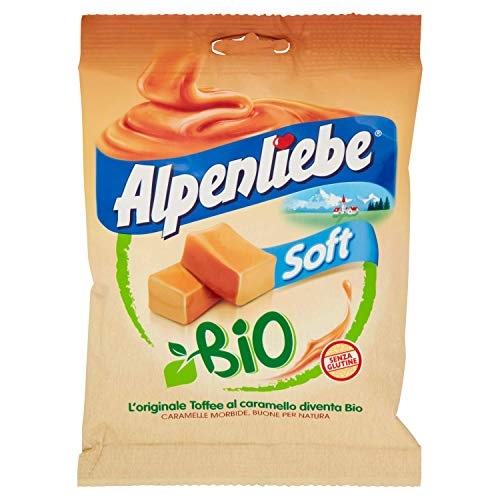 Perfetti Alpenliebe Soft Bio Caramelle Morbide Toffee al caramello Bio-Bonbons mit weichem Karamellgeschmack Glutenfrei zuckerfreie Süßigkeiten Lollies 80g Beutel