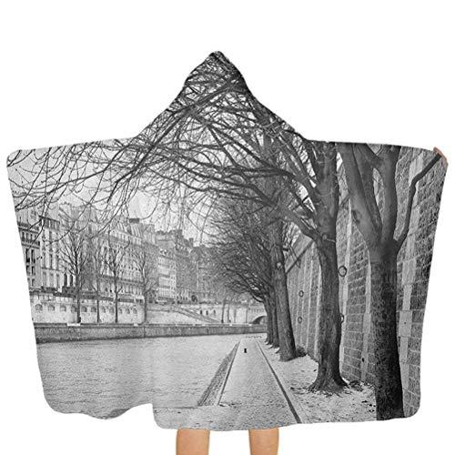 ZHSL Serviette bébé à capuche Seine River Paris Ville France Hiver neigeux dans la ville urbaine Arbres Serviettes de bain à capuche pour garçons Enfants Enfants Cadeau Noir Blanc Gris 51,5 x 31,8 pou