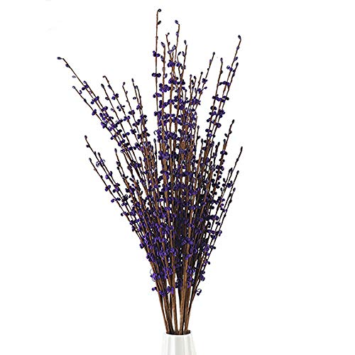10Pcs 29.5' Long Artificial Flower Winter Jasmine Folk Pip Berry Plant Dry Branches for Wedding Home Office Party Hotel Table Vase Christmas Decor - Dark Purple