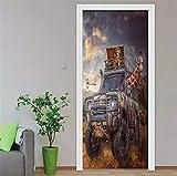 IJBSDJI Türfolie Türposter Fototapete Türtapete DIY PVC Selbstklebende wasserdichte Tapete Afrikanische Giraffe Auto Wandhauptdekor Wand Poster Tür 3D
