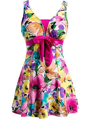 Wantdo Women's Floral Swimwear Modest Slimming Push Up Skirtini Swimsuit Rose Red 26W-28W