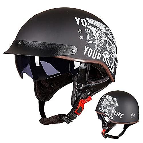 Cascos de Motocicleta para Hombres y Mujeres,Casco de Motocicleta Vintage,con Visera Reflectante.el Cabezal Anticolisión Protege La Seguridad Vial de Los Usuarios Certificado ECE