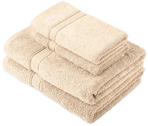 Pinzon by Amazon Handtuchset aus Baumwolle, Creme, 2 Bade- und 2 Handtücher, 600g/m²
