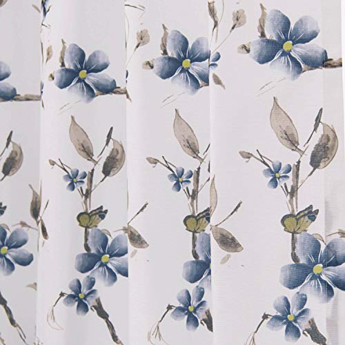 """Clacoco Blue Flower Curtains White Linen Watercolor Art Butterfly Country Drapes Grommet Top 42"""" W 63"""" Long"""