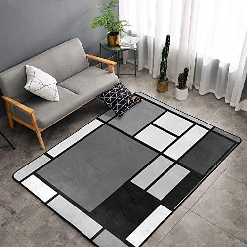 Mondrian Tapis de sol doux antidérapant lavable en machine pour salle à manger, salon, chambre à coucher