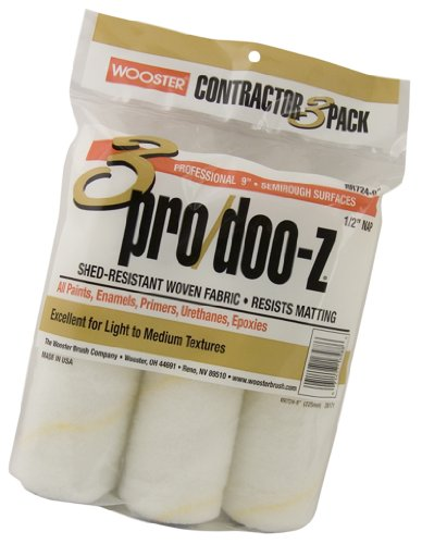 Wooster Brush RR724-9 Pro/Doo-Z Roller Cover 3-Pack, 1/2 Inch Nap, 9 Inch