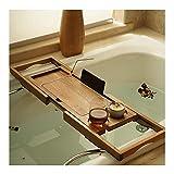 XHLLX Bandeja de bañera de Madera Maciza, Soporte de baño retráctil Hecho de Madera Impermeable con Libros, Vino, Tableta.