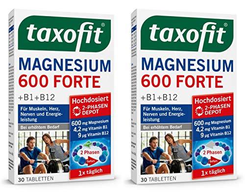 taxofit® Magnesium 600 FORTE Depot 2x 30 Tabletten für Muskeln, Herz, Nerven und Energieleistung