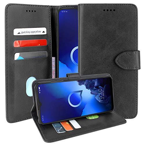 CMID Alcatel 3X 2019 Hülle, PU Leder Brieftasche Handytasche Flip Bookcase Schutzhülle Cover [Ständer][Kreditkarte] für Alcatel 3X 2019 5048Y (Schwarz)