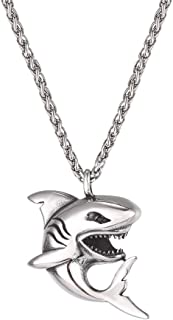 U7 Shark/Fish/Dolphin Pendant Animal Jewelry Men Boys Necklace with Stainless Steel/Gold/Black Gun Plated/925 Sterling Sil...