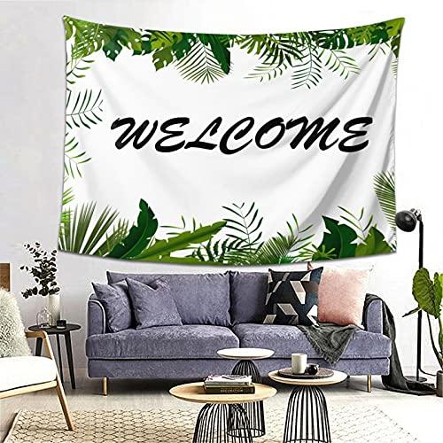 ZHJH Tapiz estético de pared para colgar en la pared, para hombres y mujeres, diseño de hojas verdes, tapices con estampado botánico, duradero para dormitorio, 80 x 60 pulgadas