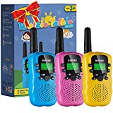 SANJOIN Walkie Talkies for Kids Toys 22 Channels 2 Way Radio Toy 3 KM Long Range with Backlit LCD Flashlight, Best Gifts for 3-12 Year Old to Outside Adventures, Camping, Hiking(3 Pack)