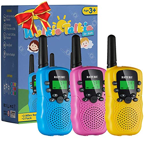 SANJOIN Walkie Talkies for Kids Toys 22 Channels 2 Way Radio Toy 3 KM Long Range with Backlit LCD Flashlight, Best Gifts for 3-12 Year Old to Outside...