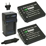 Wasabi Power Battery (2-Pack) and Charger for Fujifilm NP-50, BC-50, BC-45W and Fuji FinePix F50FD, F60FD, F70EXR, F75EXR, F80EXR, F85EXR, F100FD, F200EXR, F300EXR, F305EXR, F500EXR, F505EXR, F550EXR, F600EXR, F605EXR, F660EXR, F665EXR, F750EXR, F770EXR, F775EXR, F800EXR, F850EXR, F900EXR, REAL 3D W3, X10, X20, XF1, XP100, XP110, XP150, XP160, XP170, XP200