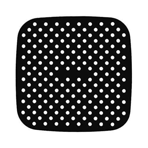 FitBest 1 Pack Reusable Air Fryer Liner Non Stick Silicone Mats 8.5 Inch Square Perforated Pad BPA Free Eco-Friendly Easy to Clean for Air Fryer Steaming Baking Cooking Black
