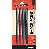 Pilot 11045 Razor Point Fine Line Marker Pen, Ultra-Fine, Assorted.3mm, 4/Pack