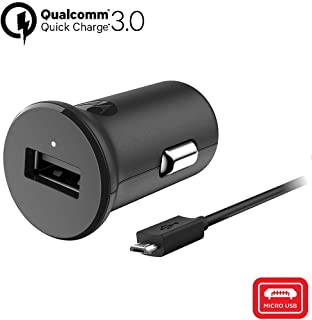 Motorola TurboPower 18 QC3.0 Car Charger with 3.3 Foot Micro-USB Cable for Moto E5 Plus, E5 Supra, G5 Plus, G5S, G5S Plus, G6 Play, G6 Forge [NOT for G6 or G6 Plus] (Retail Box)