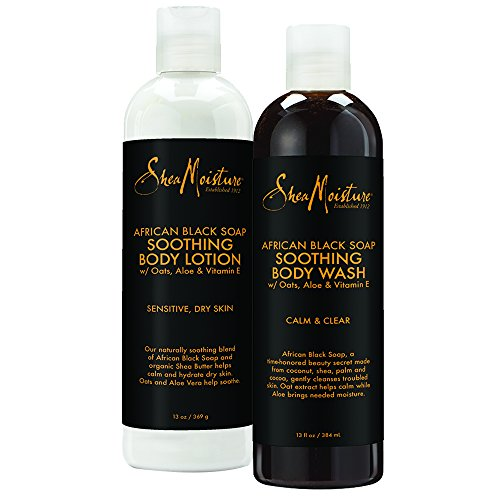 SheaMoisture African Black Soap Bath & Body Pack | Body Wash | Body Lotion | 13 fl. oz. Each