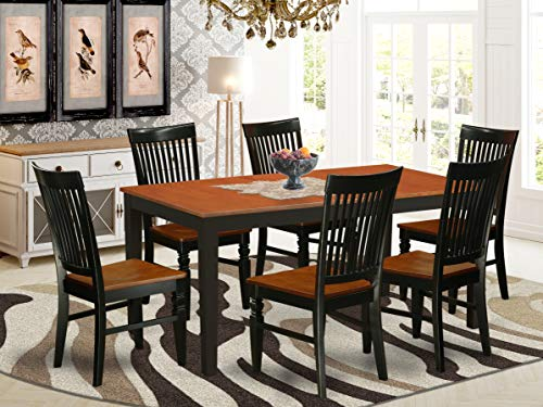 7 Pc Kitchen table set with a Dining Table and 6 Kitchen Chairs in Black and Cherry